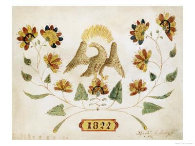 A Watercolor and Ink Drawing of a Spread Eagle, Dated 1822