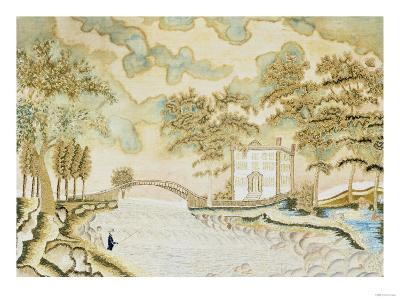 Watercolor and Silk Needlework Pictorial, American or English, circa 1810