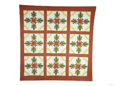 Pieced and Appliqued Cotton Coverlet, American, Second Quarter of 19th Century