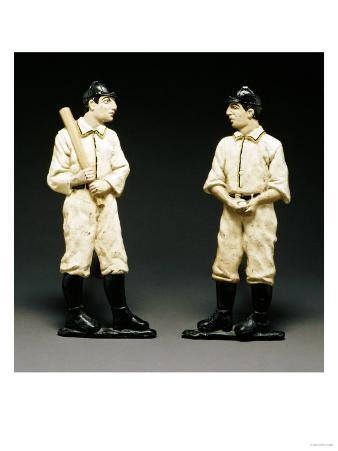Pair of Painted Cast Iron Baseball Player Andirons, American Late 19th/Early 20th Century