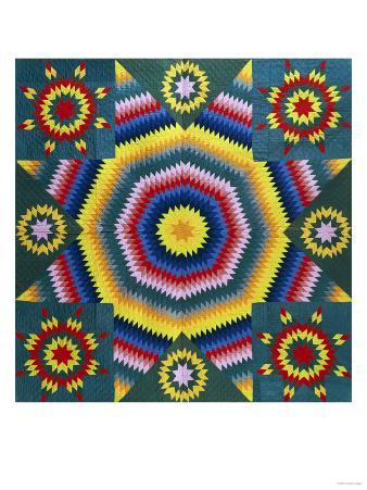 A Mennonite Pieced & Appliqued Cotton Quilted Coverlet, Pennsylvania, Late 19th Century