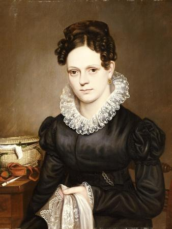 Portrait of a Lady with a Sewing Basket, American School, 19th Century
