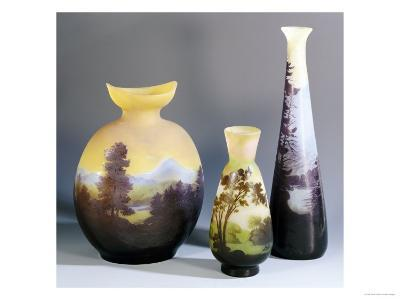 A Selection of Galle Double-Overlay and Acid-Etched Vases, Galle