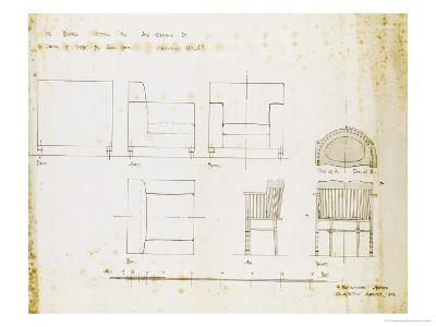 Designs for an Upholstered Chair and a Spindle Chair Shown in Elevation and Plans, 1909