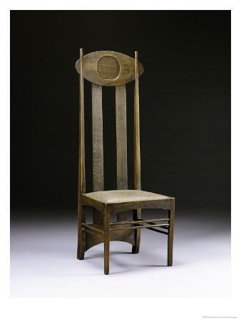 A Rare and Important High-Back Oak Chair circa 1898-1899
