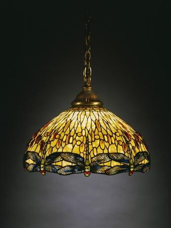 "A ""Hanging Head"" Dragonfly Glass and Gilt Bronze Chandelier"