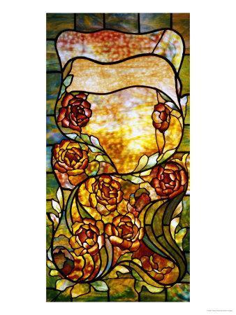 "A Leaded Favrile Glass ""Peony"" Window Screen"