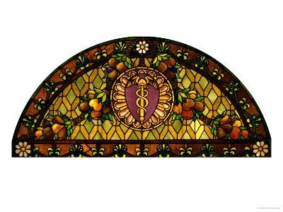 A Leaded and Plated Favrile Glass Window
