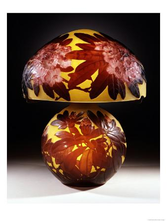 """A Red """"Rhododendron"""" Mold-Blown, Overlaid and et ched Glass Table Lamp"""