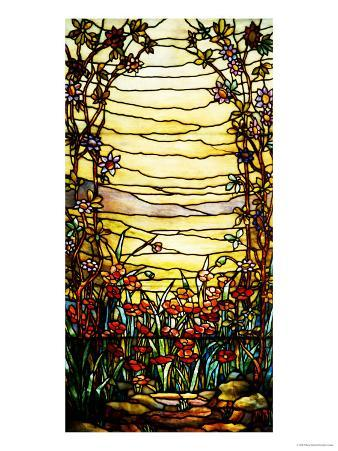 A Leaded Glass Landscape Window Depicting View of Red Flowers and a Stream