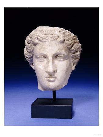 A Roman Marble Head of a Goddess, circa 2nd Century A,D