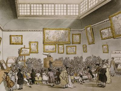 Colored Aquatint of Christies Auction Room, London, 1808