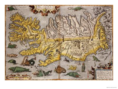 Hand Colored Map of Iceland, 1595