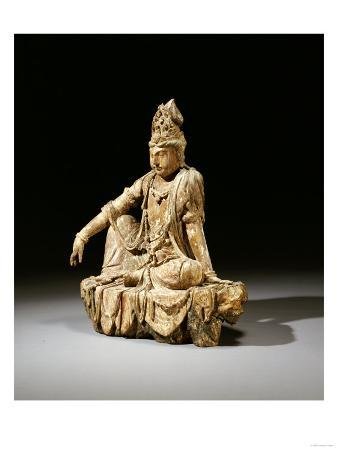 A Rare Painted Wood Figure of Guanyin, Southern Song or Jin Dynasty (12th/13th Century)
