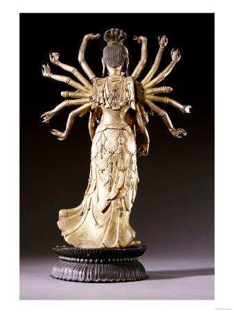 Back View of a Well-Cast Gilt-Bronze Figure of a Multi-Armed Bodhisattva, 17th/18th Century