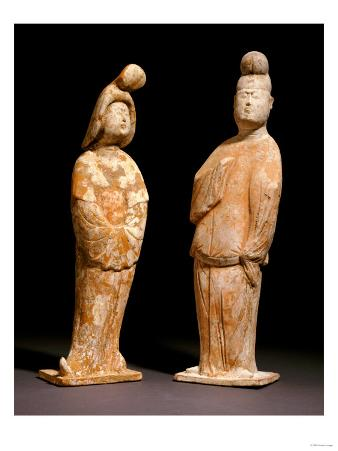 Two Painted Red Pottery Figures of Courtiers, Tang Dynasty, 7th/8th Century