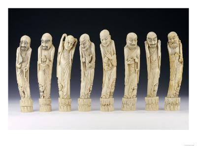 A Set of Eight Ivory Figures of Luohans, 19th Century