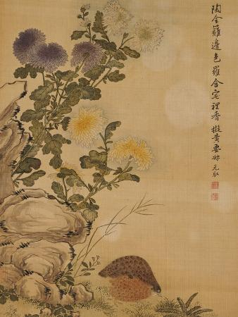 Chrysanthemums and Quail, 1702