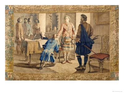 A Tapestry Cartoon Depicting Fergus Mcivor Introducing Waverley to the Prince