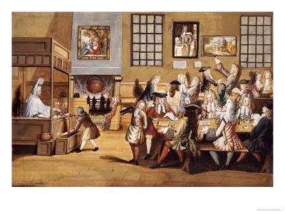 Scene in a London Coffee House, English School, circa 1695