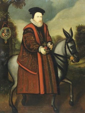William Cecil, 1st Baron Burghley (1520-1598), Riding a Grey Mule, English School