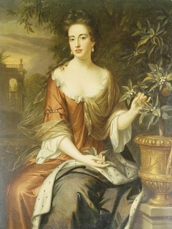 Portrait of Queen Mary II, Wearing a Blue and Red Dress and Holding a Sprig of Orange Blossom