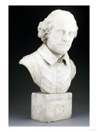 A Victorian Sculpted White Marble Bust of William Shakespeare, Probably Mid 19th Century