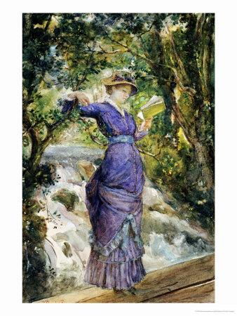 Girl Reading by a Waterfall, circa 1882