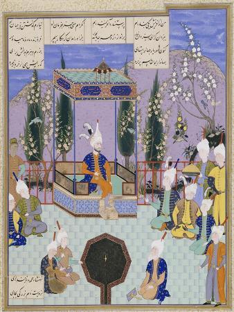 The Houghton Shahnameh: Folio 513v, an Aging Firdowsi Eulogizes Sultan Mahmud