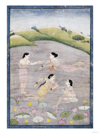 The Wives of Raga Hindola Swimming in a Lake with the Aid of Pitchers, Kangra, Early 19th Century