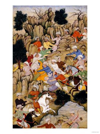Babur Chasing the Hazaras Through the Ravine, Mughal India, circa 1595