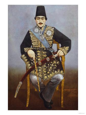 Seated Portrait of Nasir Al-Din Shah Qajar Persia, circa 1850-1870