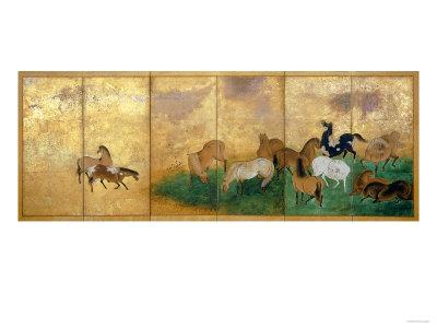 A Six Panel Screen Painted in Sumi, Colour and Gofun on Gold-Sprinkled Paper