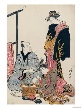 The Actor Matsumoto Koshiro IV Seated Holding a Pipe by a Brazier