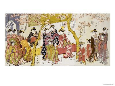 Three Groups of Courtesans with Their Shinzo and Kamuro