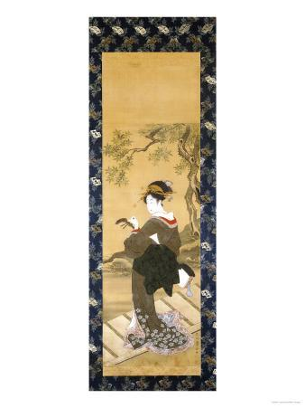 A Full Length Portrait of a Woman Tuning Her Shamisen on a Veranda
