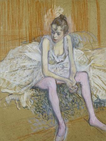 A Seated Dancer with Pink Stockings, 1890