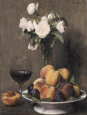Still Life with Roses, Fruits and a Glass of Wine, 1872
