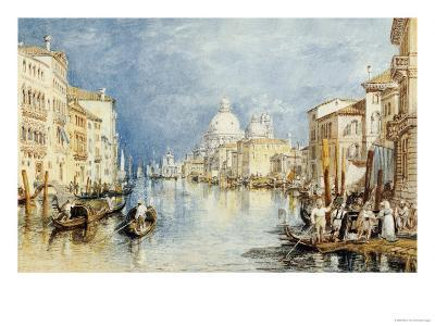 The Grand Canal, Venice, with Gondolas and Figures in the Foreground, circa 1818