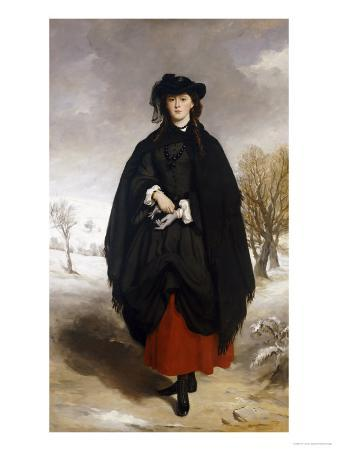 Portrait of Daisy Grant, the Artist's Daughter, Wearing a Black Dress, Red Petticoat, Black Shawl