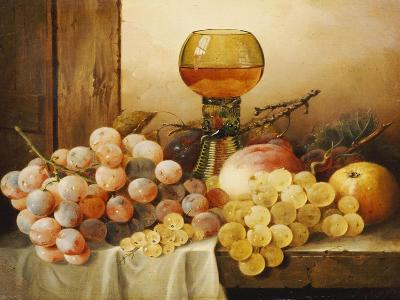 Grapes, Apple, Plums and Peach with Hock Glass on Draped Ledge