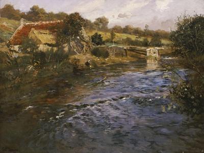 La Passerelle: a French River Landscape with a Washerwoman