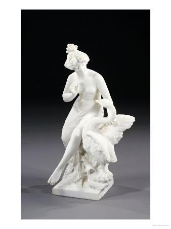 An Italian White Marble Group of Leda and the Swan, 19th Century