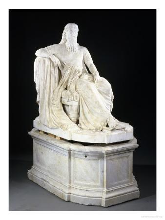 An Important American Over Lifesize White Marble Figure of Sardanapulus, 1883