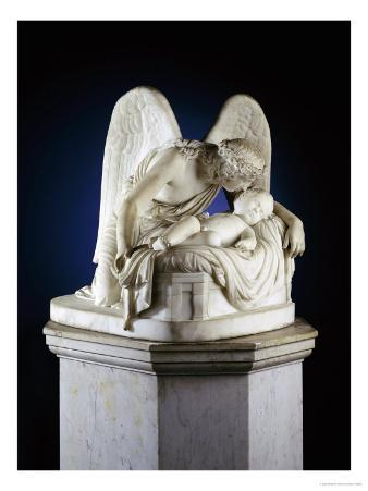 English White Marble Group of the Angels Whisper, circa 1857