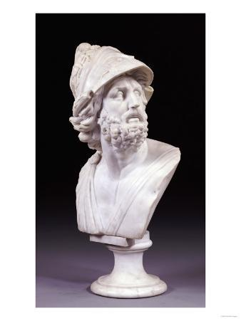 An Italian White Marble Bust of Ajax After the Antique, Second Half 19th Century