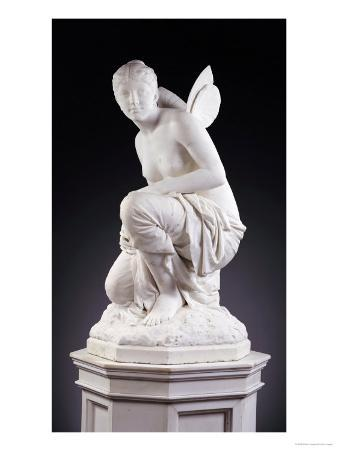 An American White Marble Figure of Psyche, on Pedestal, circa 1882