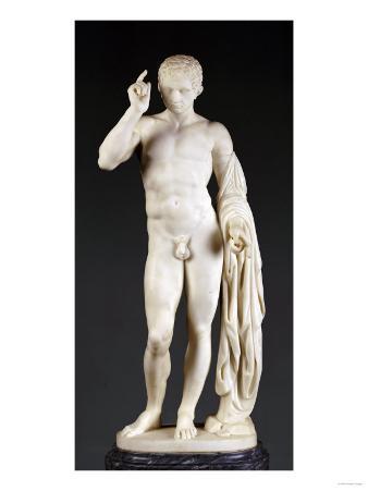 An Italian White Marble Figure of Germanicus, on Pedestal, Second Half 19th Century
