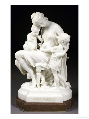 A French White Marble Group Entitled Amour Maternel, Late 19th Century