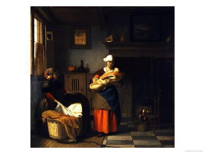 A Young Woman and a Girl Putting a Baby to Bed in a Cradle in an Interior